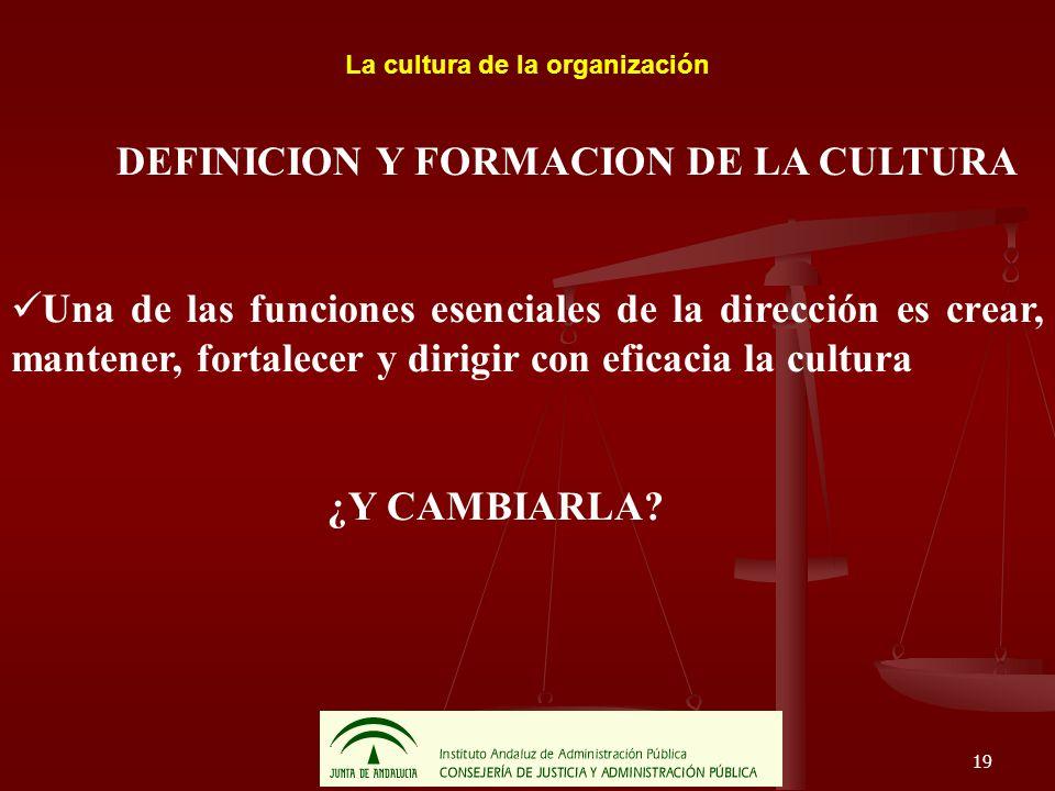 19 La cultura de la organización DEFINICION Y FORMACION DE LA CULTURA Una de las funciones esenciales de la dirección es crear, mantener, fortalecer y