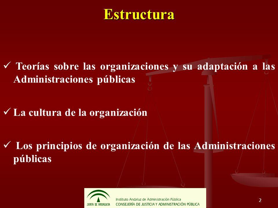 2 Estructura Teorías sobre las organizaciones y su adaptación a las Administraciones públicas La cultura de la organización Los principios de organiza