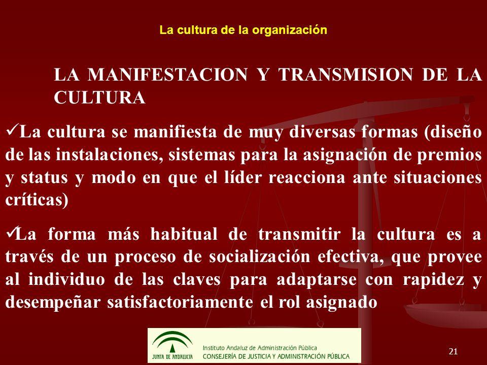 21 La cultura de la organización LA MANIFESTACION Y TRANSMISION DE LA CULTURA La cultura se manifiesta de muy diversas formas (diseño de las instalaci