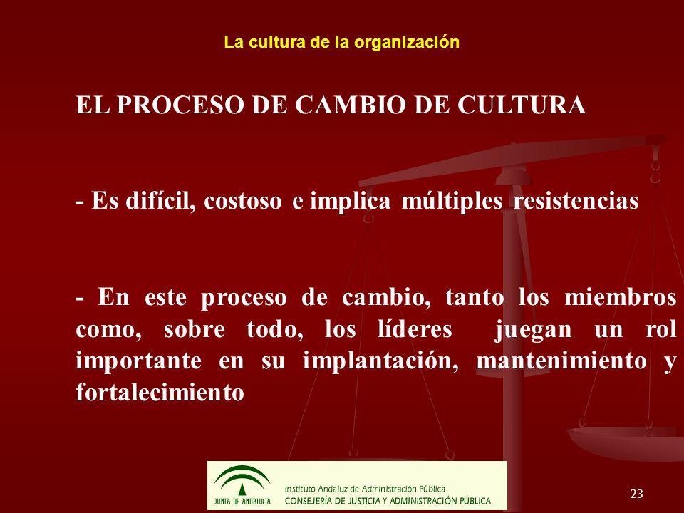 23 La cultura de la organización EL PROCESO DE CAMBIO DE CULTURA - Es difícil, costoso e implica múltiples resistencias - En este proceso de cambio, t