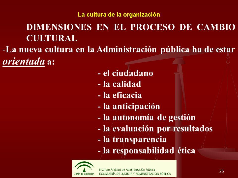 25 La cultura de la organización DIMENSIONES EN EL PROCESO DE CAMBIO CULTURAL -La nueva cultura en la Administración pública ha de estar orientada a: