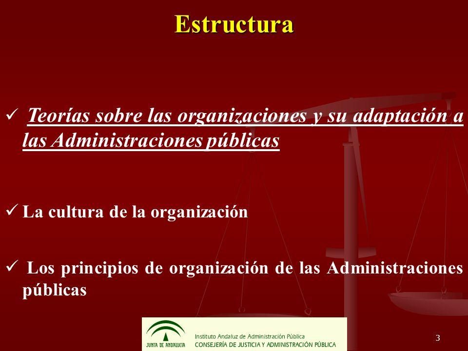 14 Estructura Teorías sobre las organizaciones y su adaptación a las Administraciones públicas La cultura de la organización Los principios de organización de las Administraciones públicas