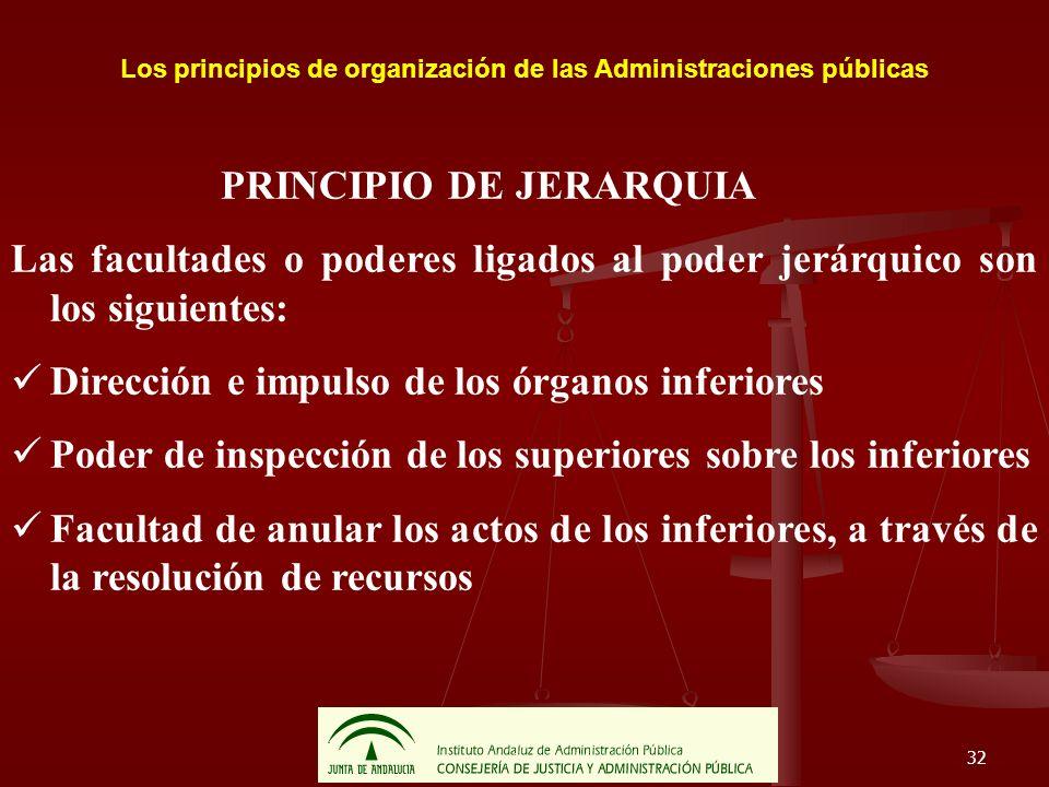 32 Los principios de organización de las Administraciones públicas PRINCIPIO DE JERARQUIA Las facultades o poderes ligados al poder jerárquico son los