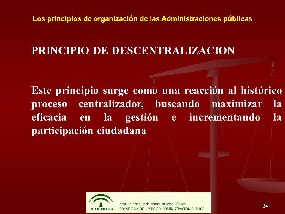 34 Los principios de organización de las Administraciones públicas PRINCIPIO DE DESCENTRALIZACION Este principio surge como una reacción al histórico