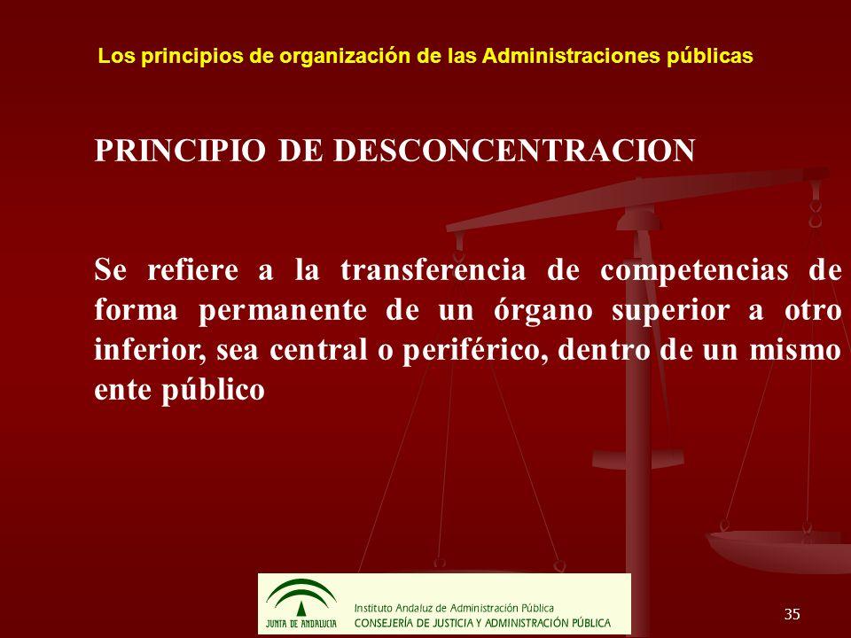 35 Los principios de organización de las Administraciones públicas PRINCIPIO DE DESCONCENTRACION Se refiere a la transferencia de competencias de form