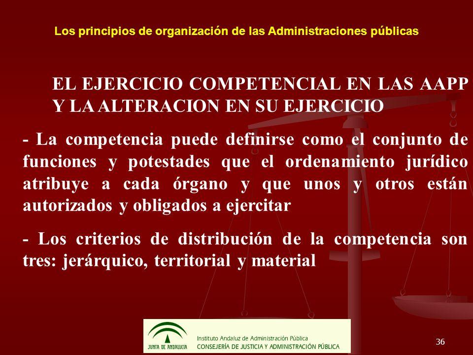 36 Los principios de organización de las Administraciones públicas EL EJERCICIO COMPETENCIAL EN LAS AAPP Y LA ALTERACION EN SU EJERCICIO - La competen