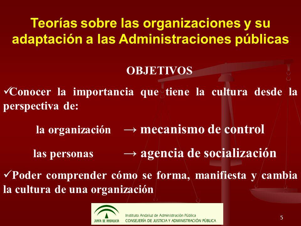 5 Teorías sobre las organizaciones y su adaptación a las Administraciones públicas OBJETIVOS Conocer la importancia que tiene la cultura desde la pers