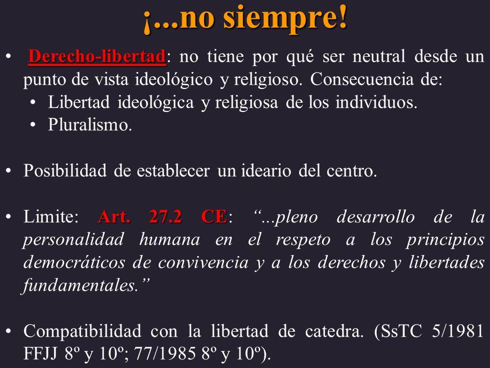 ¡...no siempre! Derecho-libertad Derecho-libertad: no tiene por qué ser neutral desde un punto de vista ideológico y religioso. Consecuencia de: Liber