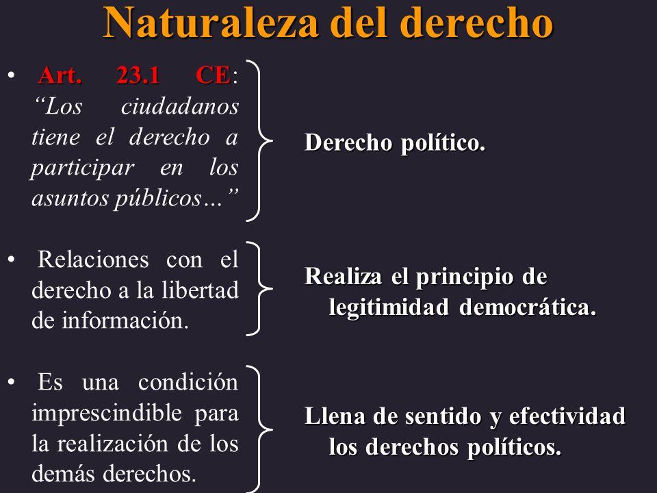 Naturaleza del derecho Art. 23.1 CE Art. 23.1 CE: Los ciudadanos tiene el derecho a participar en los asuntos públicos… Relaciones con el derecho a la