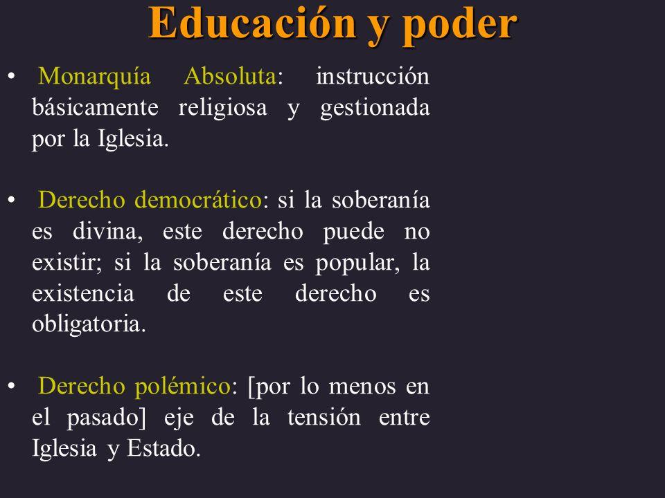 Educación y poder Monarquía Absoluta: instrucción básicamente religiosa y gestionada por la Iglesia. Derecho democrático: si la soberanía es divina, e