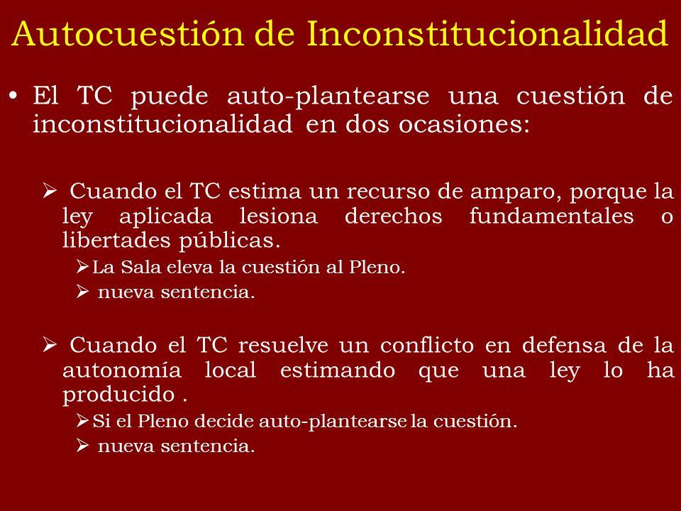 El TC puede auto-plantearse una cuestión de inconstitucionalidad en dos ocasiones: Cuando el TC estima un recurso de amparo, porque la ley aplicada le