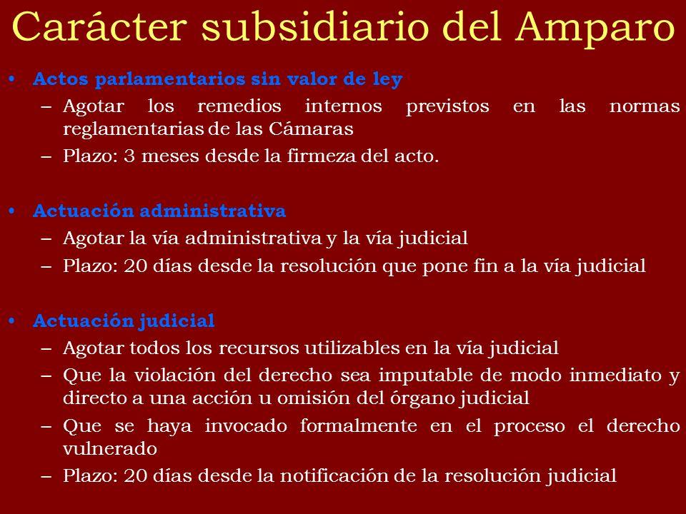 Carácter subsidiario del Amparo Actos parlamentarios sin valor de ley –Agotar los remedios internos previstos en las normas reglamentarias de las Cáma