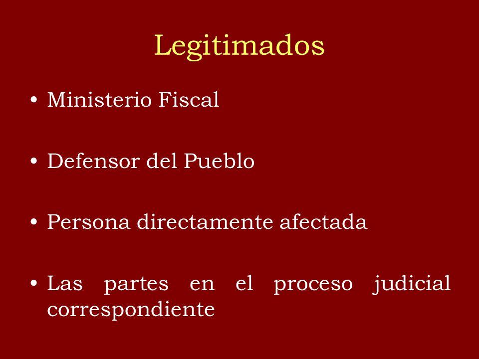Legitimados Ministerio Fiscal Defensor del Pueblo Persona directamente afectada Las partes en el proceso judicial correspondiente