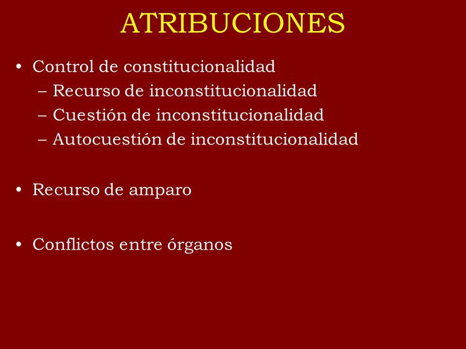 ATRIBUCIONES Control de constitucionalidad –Recurso de inconstitucionalidad –Cuestión de inconstitucionalidad –Autocuestión de inconstitucionalidad Re