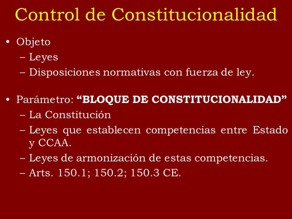 Control de Constitucionalidad Objeto –Leyes –Disposiciones normativas con fuerza de ley. Parámetro: BLOQUE DE CONSTITUCIONALIDAD –La Constitución –Ley