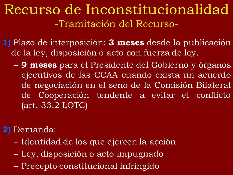 1) Plazo de interposición: 3 meses desde la publicación de la ley, disposición o acto con fuerza de ley. – 9 meses para el Presidente del Gobierno y ó