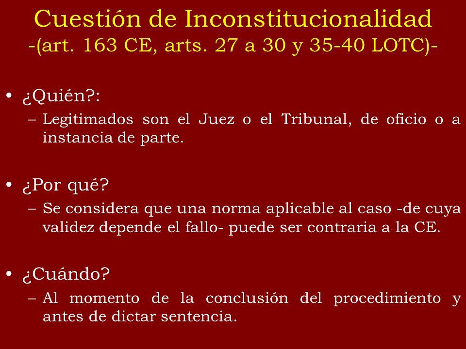 El Juez eleva la cuestión al TC: – mediante un escrito en el que ha de constar la ley cuya validez se cuestiona, – el precepto constitucional infringido; – y en qué medida la decisión del proceso depende de la validez de la norma.
