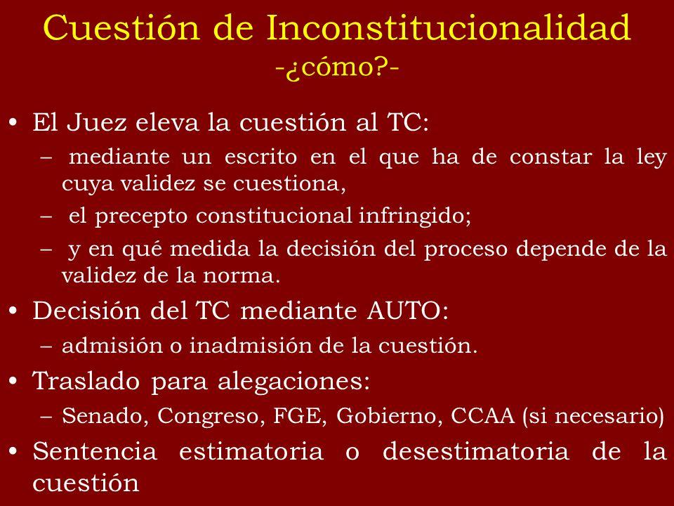 El Juez eleva la cuestión al TC: – mediante un escrito en el que ha de constar la ley cuya validez se cuestiona, – el precepto constitucional infringi