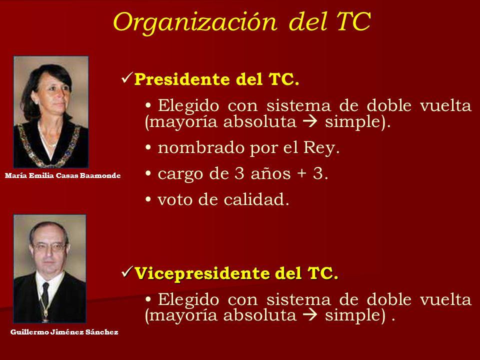 Organización del TC Presidente del TC. Elegido con sistema de doble vuelta (mayoría absoluta simple). nombrado por el Rey. cargo de 3 años + 3. voto d