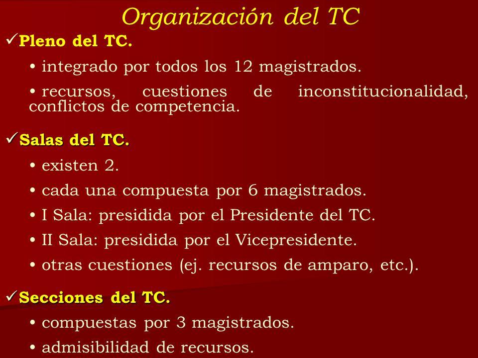 Organización del TC Pleno del TC. integrado por todos los 12 magistrados. recursos, cuestiones de inconstitucionalidad, conflictos de competencia. Sal