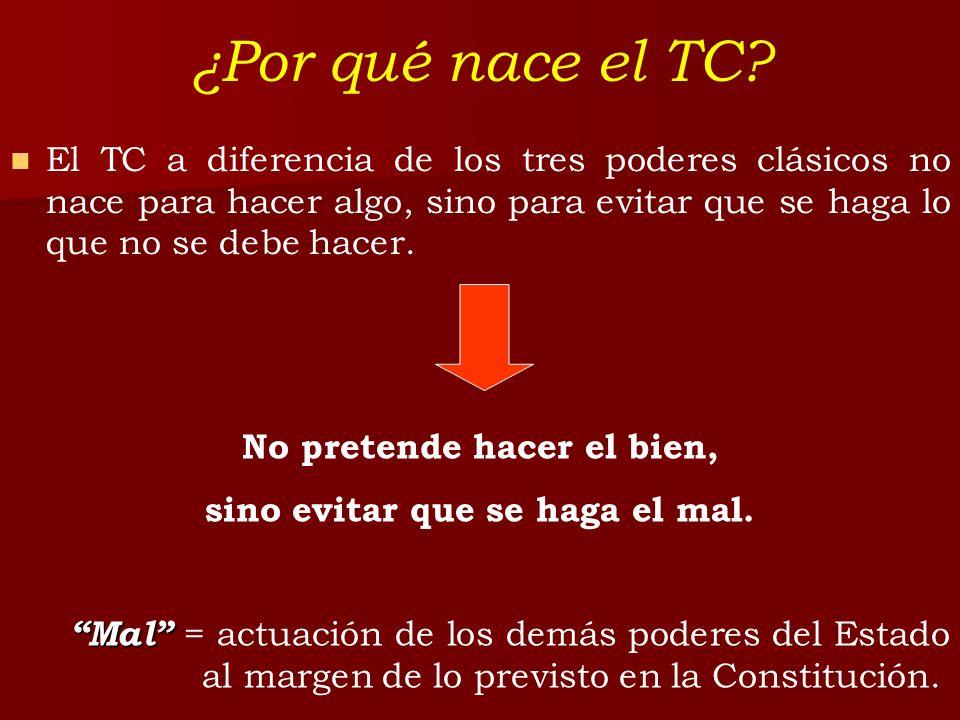 ¿Por qué nace el TC? El TC a diferencia de los tres poderes clásicos no nace para hacer algo, sino para evitar que se haga lo que no se debe hacer. No