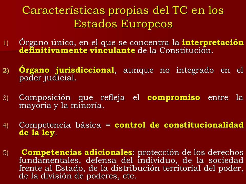 Características propias del TC en los Estados Europeos 1) Órgano único, en el que se concentra la interpretación definitivamente vinculante de la Cons