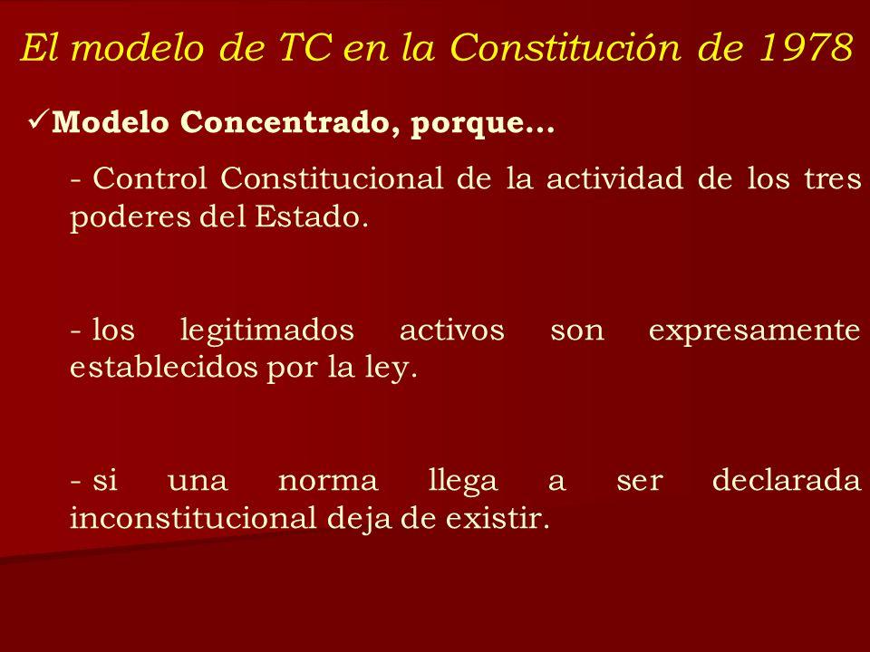 El modelo de TC en la Constitución de 1978 Modelo Concentrado, porque… - Control Constitucional de la actividad de los tres poderes del Estado. - los