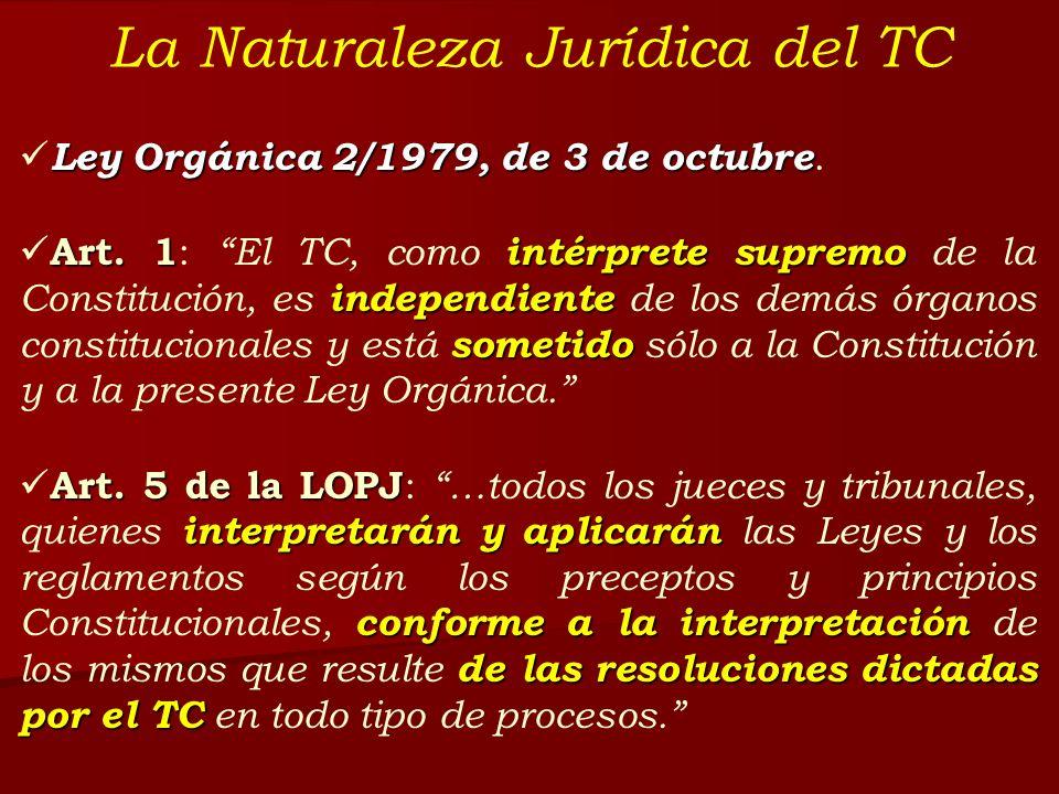 La Naturaleza Jurídica del TC Ley Orgánica 2/1979, de 3 de octubre Ley Orgánica 2/1979, de 3 de octubre. Art. 1 intérprete supremo independiente somet