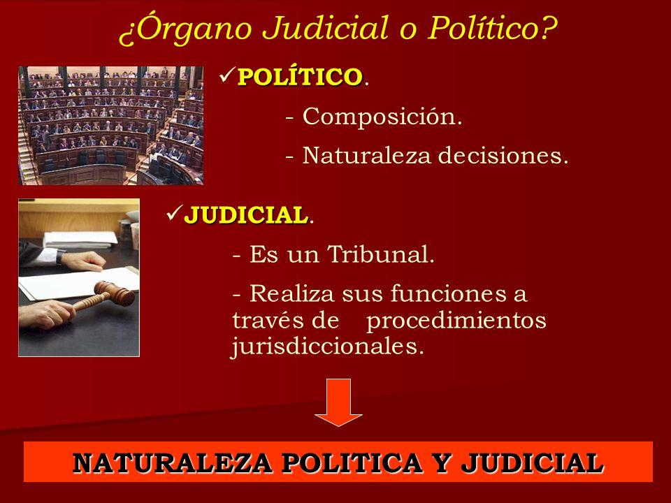 ¿Órgano Judicial o Político? POLÍTICO POLÍTICO. - Composición. - Naturaleza decisiones. JUDICIAL JUDICIAL. - Es un Tribunal. - Realiza sus funciones a