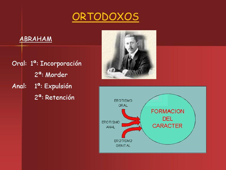 ABRAHAM ORTODOXOS Oral: 1ª: Incorporación 2ª: Morder Anal: 1ª: Expulsión 2ª: Retención