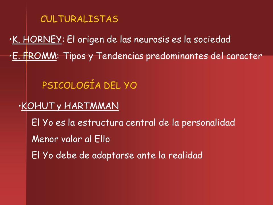 CULTURALISTAS K. HORNEY: El origen de las neurosis es la sociedad E. FROMM: Tipos y Tendencias predominantes del caracter PSICOLOGÍA DEL YO KOHUT y HA