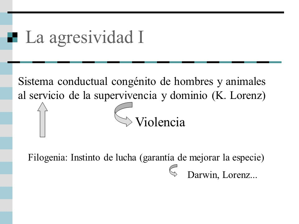 La agresividad I Sistema conductual congénito de hombres y animales al servicio de la supervivencia y dominio (K. Lorenz) Violencia Filogenia: Instint