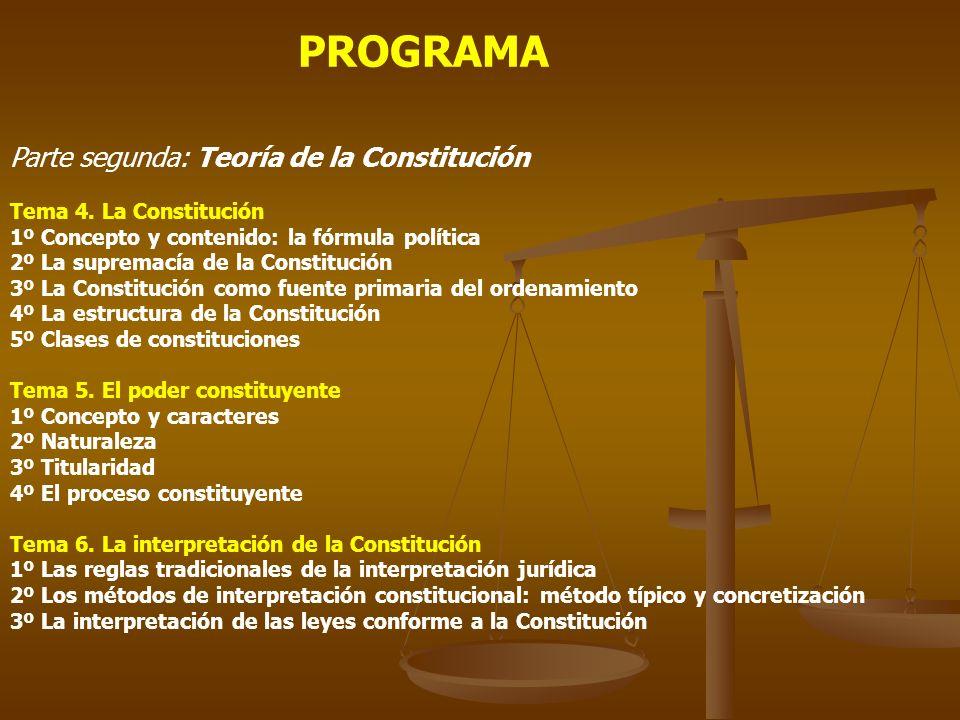 PROGRAMA Parte segunda: Teoría de la Constitución Tema 4. La Constitución 1º Concepto y contenido: la fórmula política 2º La supremacía de la Constitu