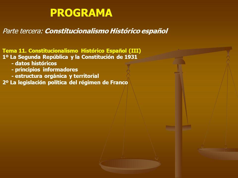 PROGRAMA Parte tercera: Constitucionalismo Histórico español Tema 11. Constitucionalismo Histórico Español (III) 1º La Segunda República y la Constitu