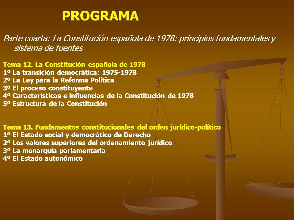 PROGRAMA Parte cuarta: La Constitución española de 1978: principios fundamentales y sistema de fuentes Tema 12. La Constitución española de 1978 1º La