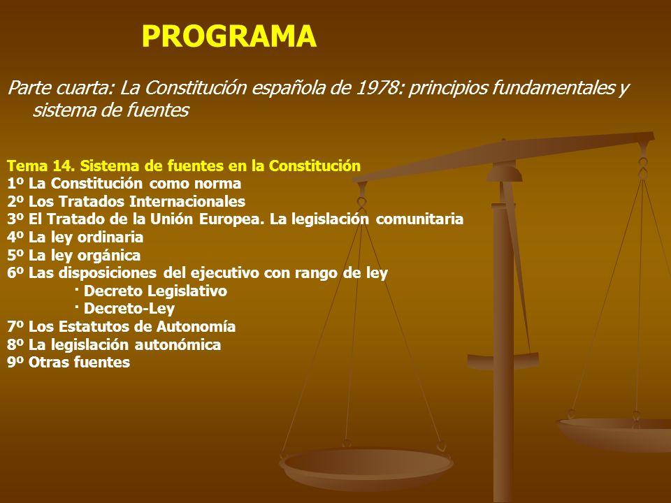 PROGRAMA Parte cuarta: La Constitución española de 1978: principios fundamentales y sistema de fuentes Tema 14. Sistema de fuentes en la Constitución