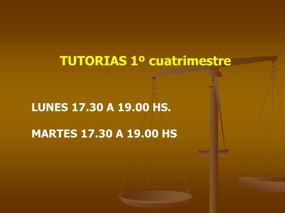 TUTORIAS 1º cuatrimestre LUNES 17.30 A 19.00 HS. MARTES 17.30 A 19.00 HS