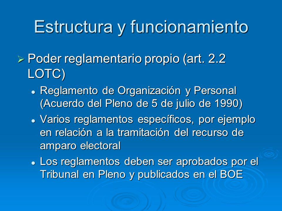 Estructura y funcionamiento Poder reglamentario propio (art.