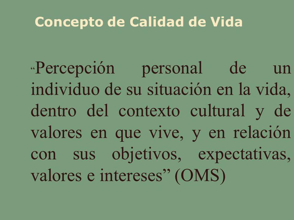 Concepto de Calidad de Vida Percepción personal de un individuo de su situación en la vida, dentro del contexto cultural y de valores en que vive, y e