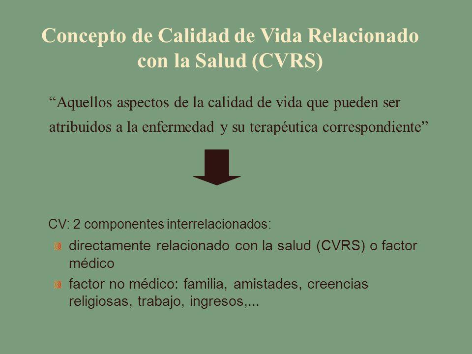 Concepto de Calidad de Vida Relacionado con la Salud (CVRS) Aquellos aspectos de la calidad de vida que pueden ser atribuidos a la enfermedad y su ter