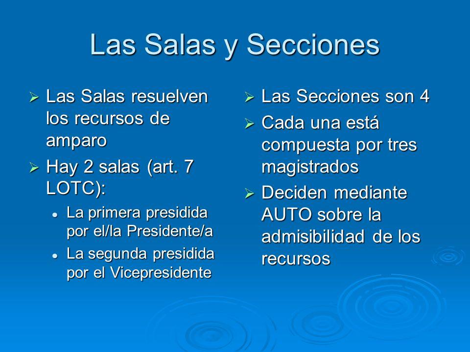 Las Salas y Secciones Las Salas resuelven los recursos de amparo Las Salas resuelven los recursos de amparo Hay 2 salas (art. 7 LOTC): Hay 2 salas (ar