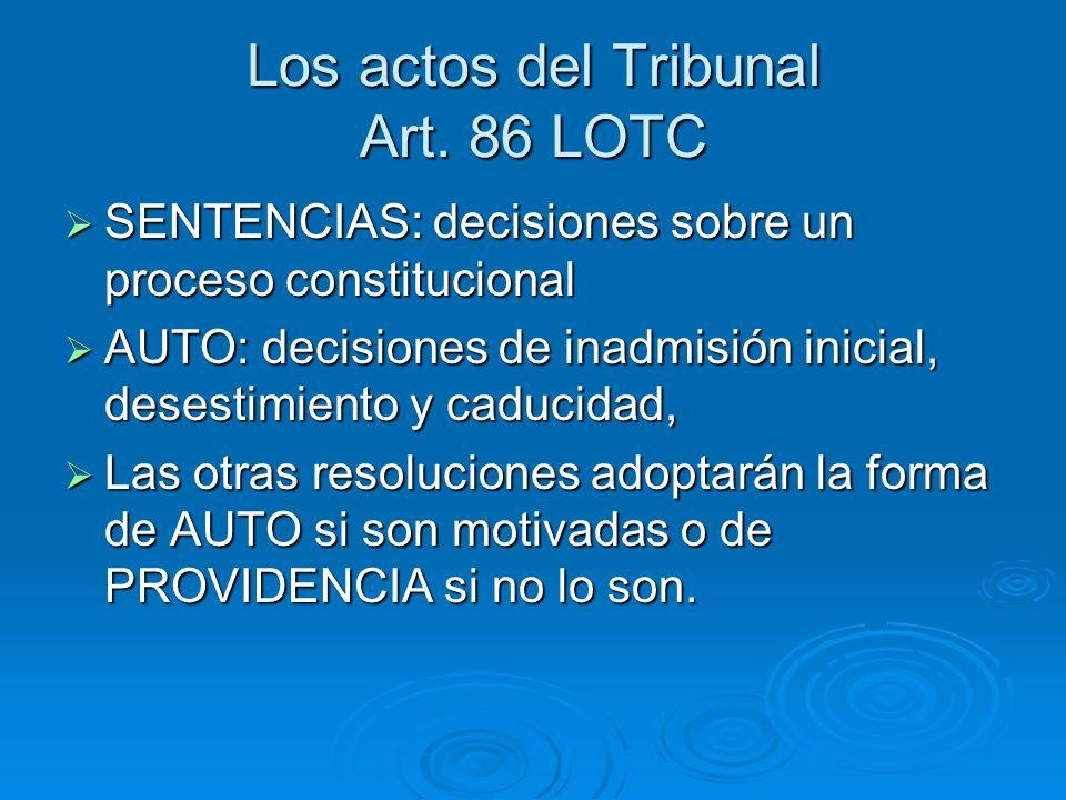 Los actos del Tribunal Art. 86 LOTC SENTENCIAS: decisiones sobre un proceso constitucional SENTENCIAS: decisiones sobre un proceso constitucional AUTO