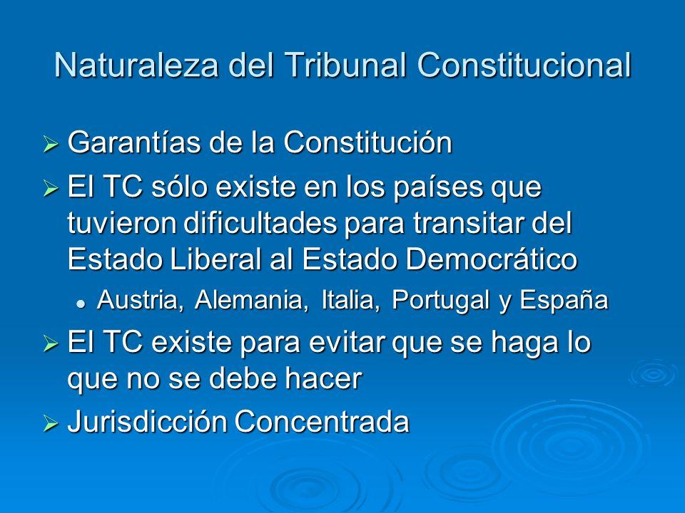 Naturaleza del Tribunal Constitucional Garantías de la Constitución Garantías de la Constitución El TC sólo existe en los países que tuvieron dificult