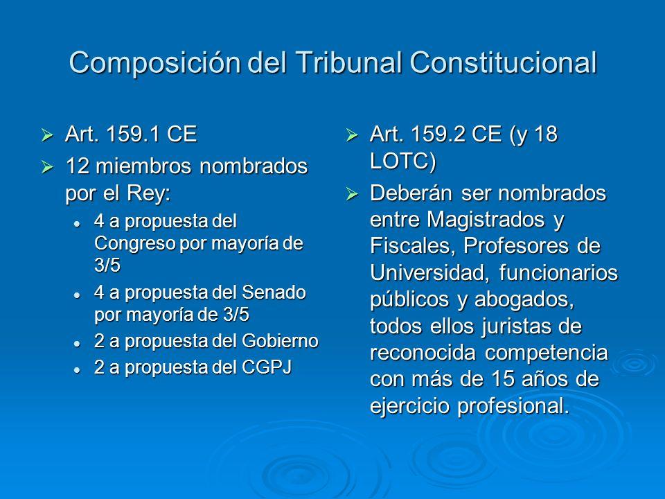 Composición del Tribunal Constitucional Art. 159.1 CE Art. 159.1 CE 12 miembros nombrados por el Rey: 12 miembros nombrados por el Rey: 4 a propuesta