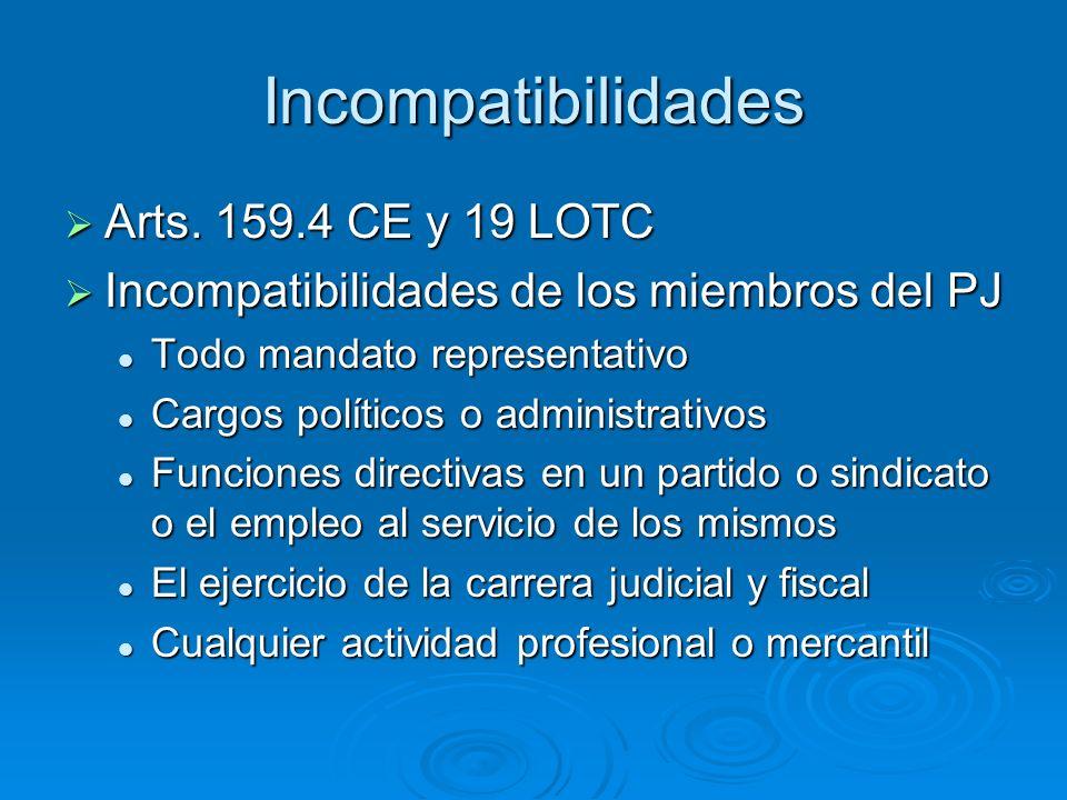 Incompatibilidades Arts. 159.4 CE y 19 LOTC Arts. 159.4 CE y 19 LOTC Incompatibilidades de los miembros del PJ Incompatibilidades de los miembros del