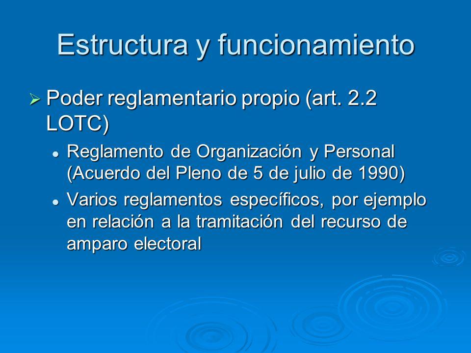 Estructura y funcionamiento Poder reglamentario propio (art. 2.2 LOTC) Poder reglamentario propio (art. 2.2 LOTC) Reglamento de Organización y Persona