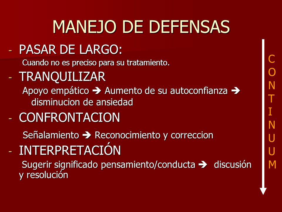 MANEJO DE DEFENSAS - PASAR DE LARGO: Cuando no es preciso para su tratamiento. - TRANQUILIZAR Apoyo empático Aumento de su autoconfianza disminucion d
