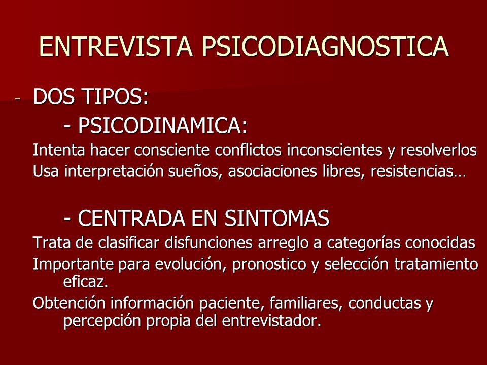 - DOS TIPOS: - PSICODINAMICA: Intenta hacer consciente conflictos inconscientes y resolverlos Usa interpretación sueños, asociaciones libres, resisten