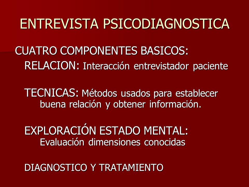 ENTREVISTA PSICODIAGNOSTICA CUATRO COMPONENTES BASICOS: RELACION: Interacción entrevistador paciente TECNICAS: Métodos usados para establecer buena re