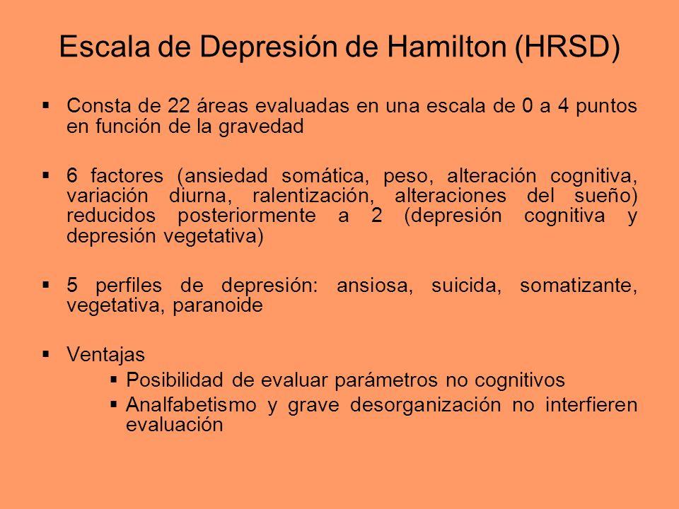 Escala de Depresión de Hamilton (HRSD) Consta de 22 áreas evaluadas en una escala de 0 a 4 puntos en función de la gravedad 6 factores (ansiedad somát